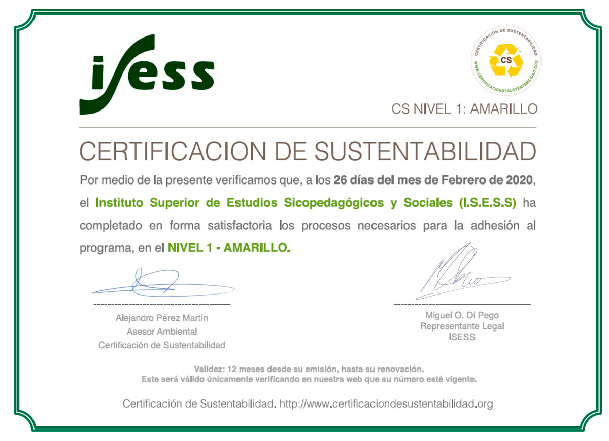 1° Instituto Educativo con Certificación de Sustentabilidad